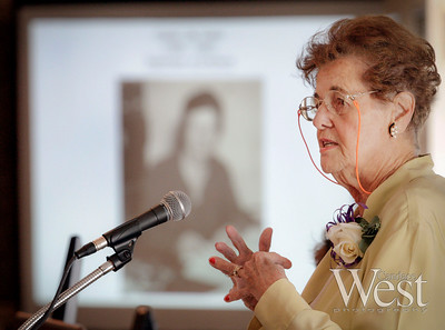 Guest speaker, Broward County Historian, and 1993 Inductee, Helen Landers, shares her knowledge about Browards' Women of History with the crowd.   2011 Broward County Women's Hall of Fame Induction Ceremony.  The Riverside Hotel in Ft. Lauderdale.