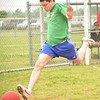Matt Caban tries to step on home plate before he is thrown out during the Norman NEXT kickball tournament Sunday afternon at Griffen Park.<br /> Transcript Photo by Kyle Phillips