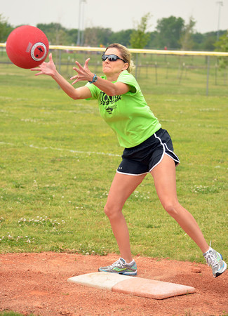 Wendy Tecumseh catches the ball at first base Sunday afternoon during the Norman Next kickball tournament at Griffen Park.<br /> Transcript Photo by Kyle Phillips