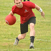 Mitchell Aldridge rolls the ball toward home plate Sunday afternoon during the Norman NEXT kickball tournament at Griffen Park.<br /> The tournament is a bi-annual event to raise money for Meals on Wheels and the Norman Addiction Information and Counseling.<br /> Transcript photo by Kyle Phillips