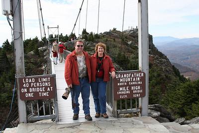 Gary & Carol on Grandfather Mountain, NC Swinging Bridge - October 24, 2009