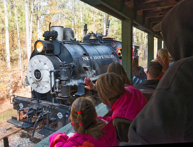New Hope Valley Railroad Steam Locomotive Passes Passenger cars at siding