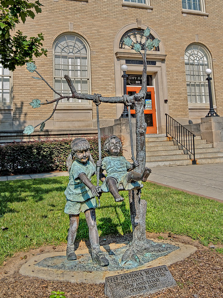 Children Playing Outside Gastonia City Hall