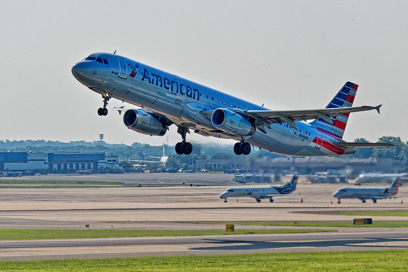 American Airline Plane Takes Off
