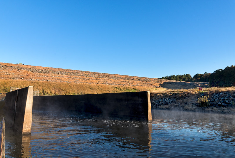 B. Everett Jordan Dam, Moncure, North Carolina. 4 miles upstream from the mouth of the Haw River in the upper Cape Fear River drainage basin, the dam is 1,330 feet in length and has a top elevation of 266.5 feet above sea level.