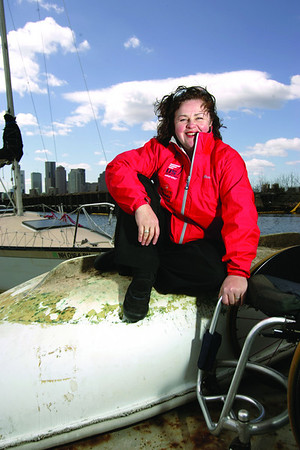 Maureen McKinnon-Tucker gold medal paralympic sailor from Marblehead for North Shore 100 top 5 profile portrait in East Boston at the Piers Park East Boston Sailing Center where she works as adaptive sailing instructor.