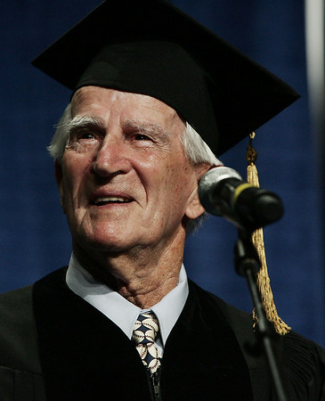Salem: With tears in his eyes, Red Sox legend, Johnny Pesky was awarded a Doctor of Humane Letters Honorary Degree during the Salem State Graduation ceremony Saturday. (No name on presentor, not in program). Photo by Deborah Parker/May 16, 2009<br />   <br /> , Salem: With tears in his eyes, Red Sox legend, Johnny Pesky was awarded a Doctor of Humane Letters Honorary Degree during the Salem State Graduation ceremony Saturday. (No name on presentor, not in program). Photo by Deborah Parker/May 16, 2009