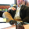 Ipswich:<br /> Tim Collins, EBSCO Publishing CEO, talks with Tom Wheeler, CFO, and Stephanie Pearsall, VP editorial operations.<br /> Photo by Ken Yuszkus/Salem News, Wednesday March 4, 2009.
