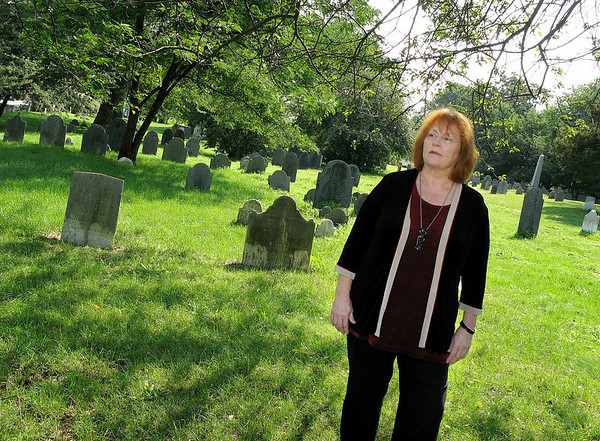 "Salem: Salem author Brunonia Barry at the Broad Street Cemetery. Who new book, "" The Lace Reader, "" hits bookstores Tuesday. Photo by Mark Lorenz/Salem News July 28, 2008"