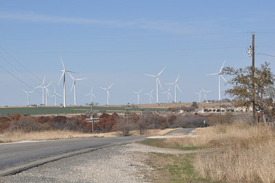 Wind Turbine farm north of Muenster, Texas