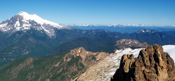 Baker, Loomis, and the North Cascades from the summit of North Twin.