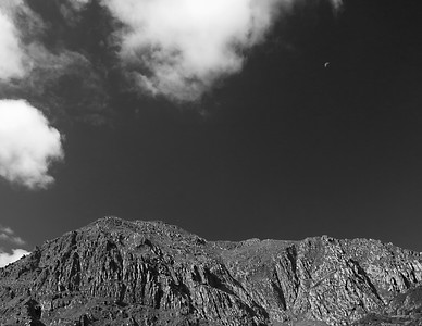 Moon above the summit of Snowdon