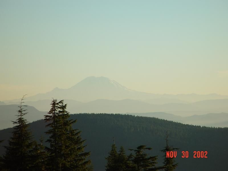 Mount Rainer, from the west side of Mount Pilchuck, about 120 miles away