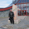 Arctic circle on the way back south in Norway. Im not actually that fat, I was wearing all my clothes, it was 4C.