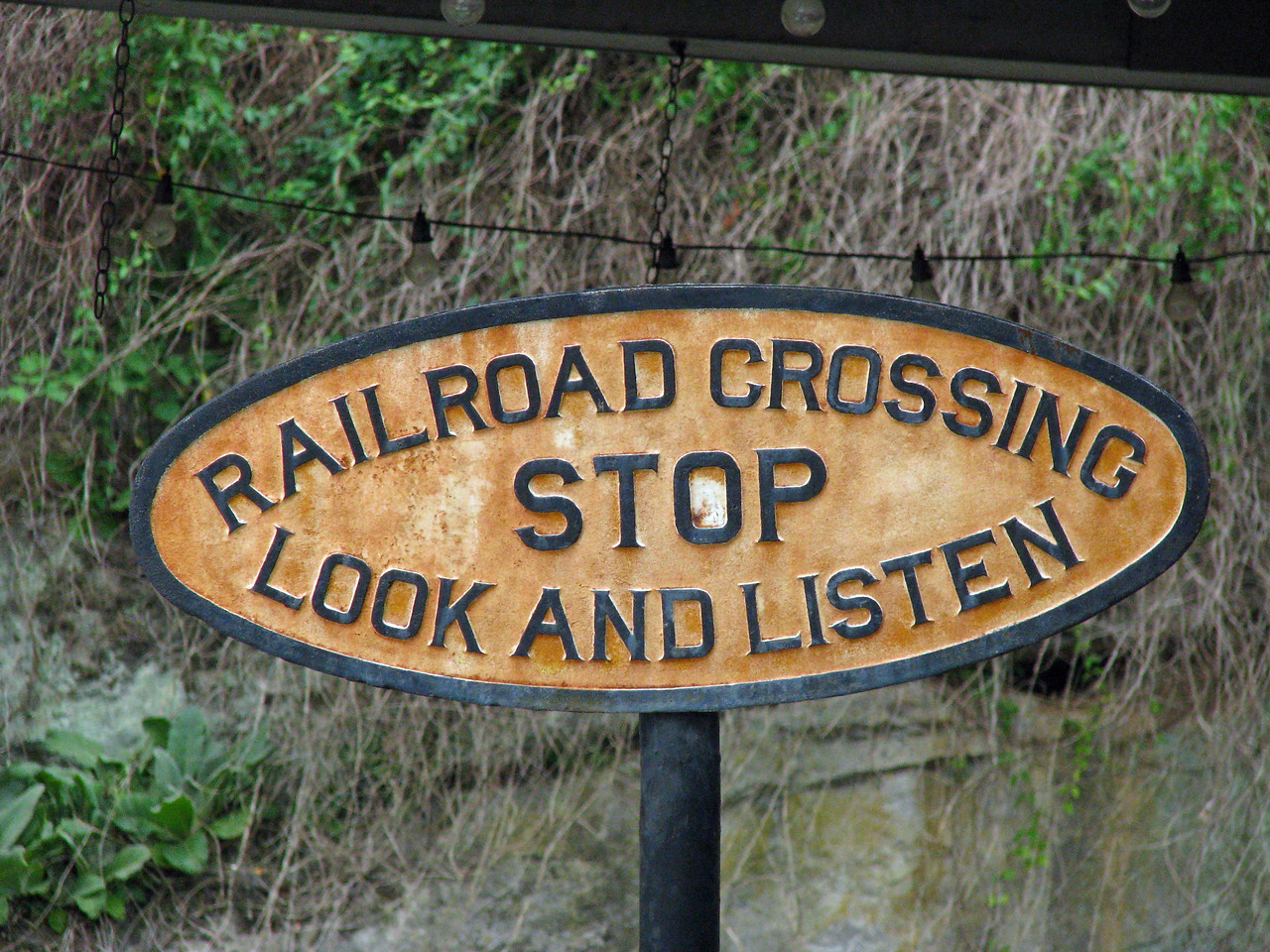 "Old Railroad Crossing sign.  What ever happened to the ""look and listen""?"
