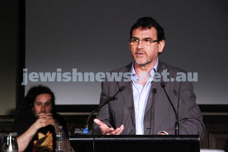 "2-6-13. The not so holy comedy debate. Melbourne Town Hall. ""Sport is not a religion"".  Rev, Howard Langmead. Photo: Peter Haskin"