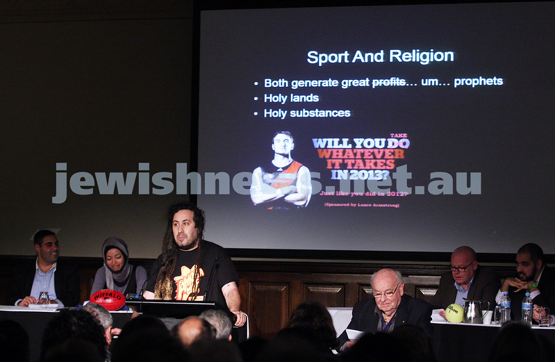 """2-6-13. The not so holy comedy debate. Melbourne Town Hall. """"Sport is not a religion"""".   Photo: Peter Haskin"""
