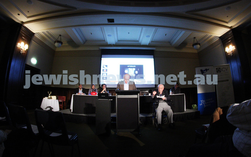 """2-6-13. The not so holy comedy debate. Melbourne Town Hall. """"Sport is not a religion"""".   Steve Bedwell. Photo: Peter Haskin"""