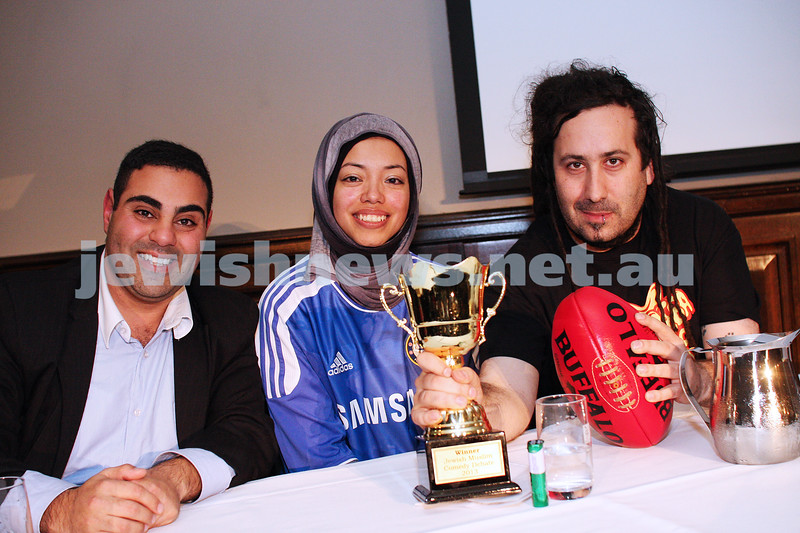 "2-6-13. The not so holy comedy debate. Melbourne Town Hall. ""Sport is not a religion"". member of the winning ""affirmative"" team. From left: Mohammed El-Ieissy, Dr Nasry Bahfen, Bram Presser. Photo: Peter Haskin"