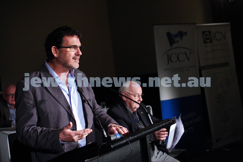 """2-6-13. The not so holy comedy debate. Melbourne Town Hall. """"Sport is not a religion"""".   Rev Howard Langmead. Photo: Peter Haskin"""