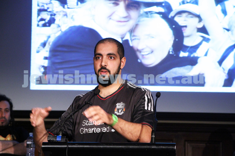 """2-6-13. The not so holy comedy debate. Melbourne Town Hall. """"Sport is not a religion"""".  Mustafa Haroun. Photo: Peter Haskin"""