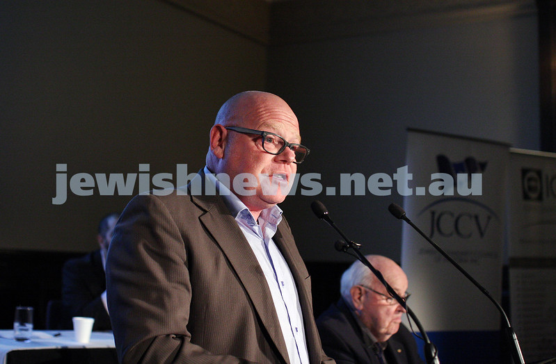"2-6-13. The not so holy comedy debate. Melbourne Town Hall. ""Sport is not a religion"".   Steve Bedwell. Photo: Peter Haskin"