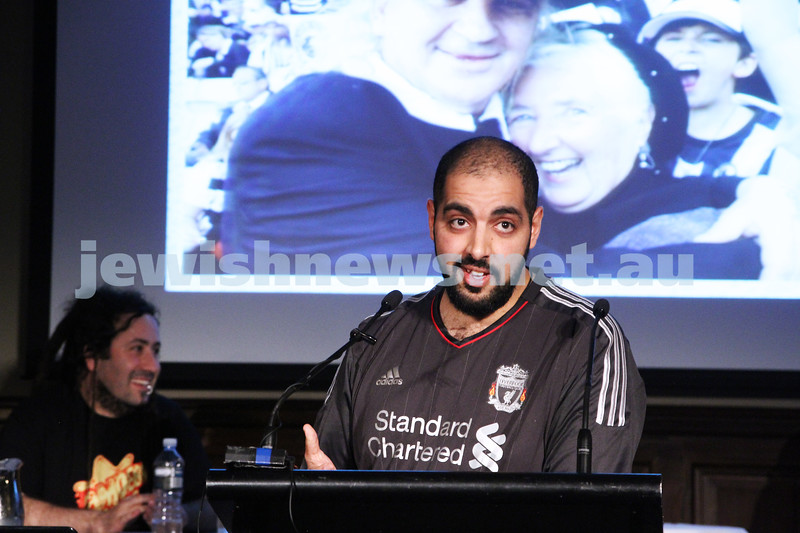 "2-6-13. The not so holy comedy debate. Melbourne Town Hall. ""Sport is not a religion"".  Mustafa Haroun. Photo: Peter Haskin"