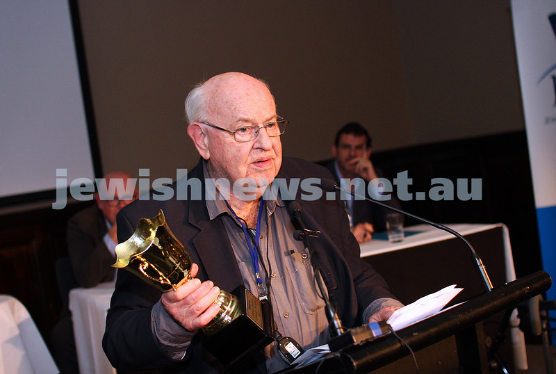 """2-6-13. The not so holy comedy debate. Melbourne Town Hall. """"Sport is not a religion"""". Father Bob. Photo: Peter Haskin"""
