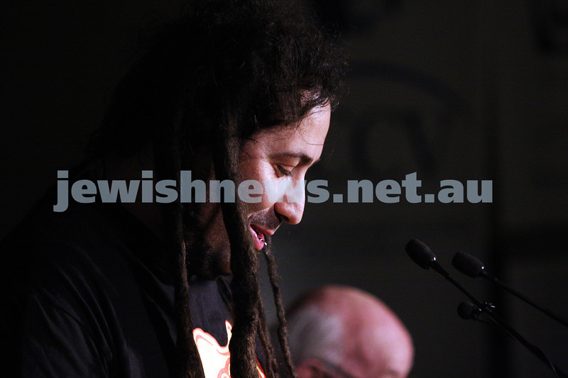 """2-6-13. The not so holy comedy debate. Melbourne Town Hall. """"Sport is not a religion"""".   Bram Presser. Photo: Peter Haskin"""