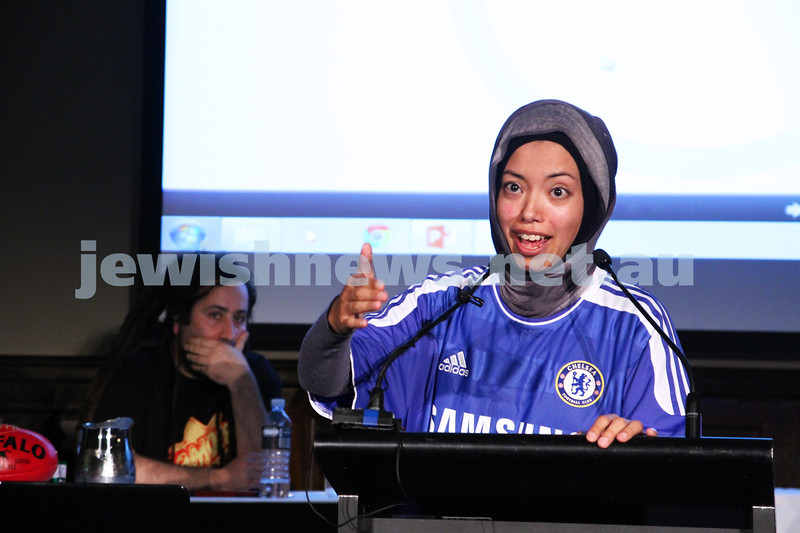 """2-6-13. The not so holy comedy debate. Melbourne Town Hall. """"Sport is not a religion"""".  Dr Nasry Bahfen. Photo: Peter Haskin"""