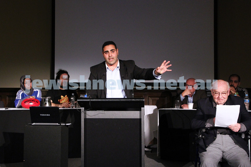 """2-6-13. The not so holy comedy debate. Melbourne Town Hall. """"Sport is not a religion"""".  Mohammed El-Ieissy. Photo: Peter Haskin"""