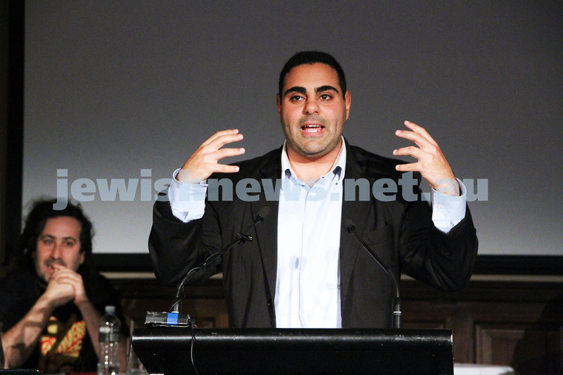 """2-6-13. The not so holy comedy debate. Melbourne Town Hall. """"Sport is not a religion"""".  Mohammed Ei-Ieissy. Photo: Peter Haskin"""