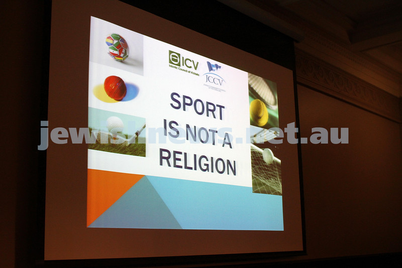 "2-6-13. The not so holy comedy debate. Melbourne Town Hall. ""Sport is not a religion"".  Photo: Peter Haskin"