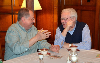 Fr. Jim Casper of the Toronto community shares a laugh with Fr. Bill Marrevee. The Sacred Heart community in Toronto hosted a dinner prior to the North American meeting.