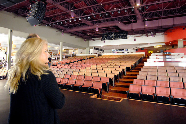 Jahnae Erpenbach, vice president and general manager of gaming at Hoosier Park, looks out from the stage of the all-new Terrace Showroom, Hoosier Park's 1,200 seat permanent event venue.