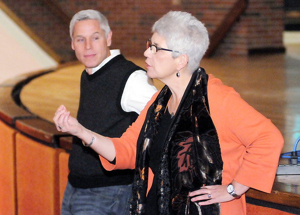Don Knight/The Herald Bulletin<br /> Anderson University Provost Marie Morris answers question about recent cuts during a forum held by Anderson University's Student Government Association at Reardon Auditorium on Thursday.