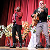 Don Knight/The Herald Bulletin<br /> Hoosier Idol All-In contest winner Michael Thomas accompanied by Broderick Thompson perform during the Paramount Theatre's 23rd Annual Festival of Trees Gala and Auction on Saturday.