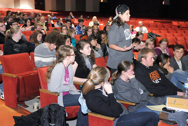 Don Knight/The Herald Bulletin<br /> A students talks about her experience discovering about Anderson University's art department as the topic of recruitment came up during a forum discussing recent cuts at the university.