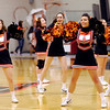 Anderson University cheerleaders lead the crowd in a cheer during the mens' basketball team home opener Tuesday night.