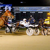 Tyler Smith, driving #6 War Dancer, just gets beat by Red Scooter at the wire for second place in the third race at Hoosier Park Saturday night.  Scotty Mach N driven by Brad Hanners was the winner by more then two lengths.