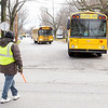 Don Knight/The Herald Bulletin<br /> School busses leave Pendleton Elementary on Friday.