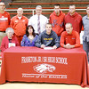 Don Knight/The Herald Bulletin<br /> Aaron Korn signs his letter of intent to attend Lipscom at Frankton High School on Thursday. Seated from left are grandmother Mary Howerton, mom Beverly Korn, Aaron Korn and father Gavin Korn. Standing from left are basketball coach Brent Brobston, AD Phil Abernathy, assistant principal Jimmy Morehead, brother John Korn, brother Brandon Dillon and AAU coach Scott Burton.