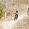 Don Knight/The Herald Bulletin<br /> Mountain bikers ride the trails at Rangeline Nature Preserve on Saturday.