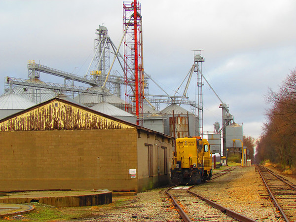 Grain and train at Emporia.<br /> <br /> Photographer's Name: Brian Fox<br /> Photographer's City and State: Anderson, Ind.