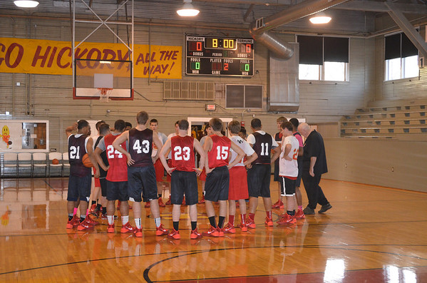 """Liberty Christian's boys basketball team conducted a recent practice in the famous """"Hoosier Gym"""" in Knightstown.<br /> <br /> Photographer's Name: Marty Carey<br /> Photographer's City and State: Anderson, Ind."""