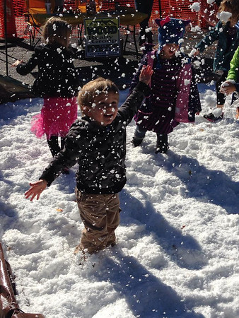 """My grandson Carson Fedor playing in the """"snow"""" at Christmas in Pendleton!<br /> <br /> Photographer's Name: Brenda Fedor<br /> Photographer's City and State: Anderson, Ind."""