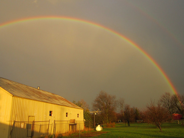 After the storm...a double rainbow over our barn. So beautiful!<br /> <br /> Photographer's Name: Anita Barton<br /> Photographer's City and State: Alexandria, Ind.