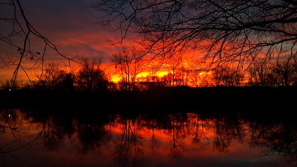 Sunrise on November 19, taken while walking at Shadyside Lake Park.<br /> <br /> Photographer's Name: Myron Noble<br /> Photographer's City and State: Anderson, IN