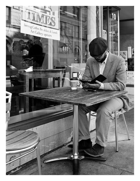 "Week #2 assignment Getting Close, for my Documentary Photography As Fine Art class, this is ""Kindle and Coffee - Raleigh"""