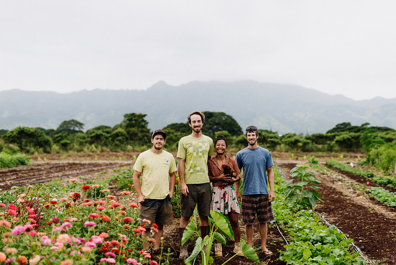 Counter Culture farmers from left to right, Gabe Sachter-Smith, Rob Barreca, Laarni Gedo, and Daniel Leas. The farm is known for its fermented products but has diversified to include eggs, fresh flowers, cornmeal, and fresh vegetables and fruit.